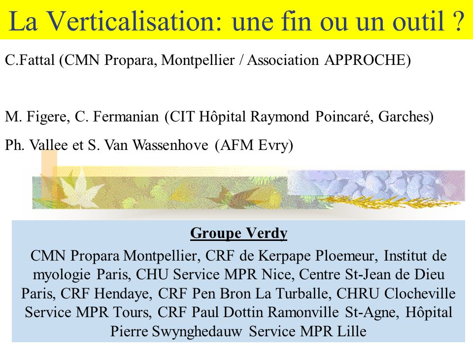 La Verticalisation Dynamique FR verticalisateur = FR principal