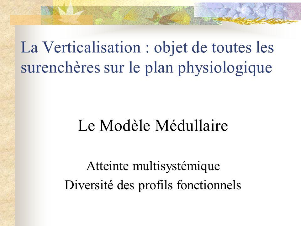 La Verticalisation : objet de toutes les surenchères sur le plan physiologique Le Modèle Médullaire Atteinte multisystémique Diversité des profils fon
