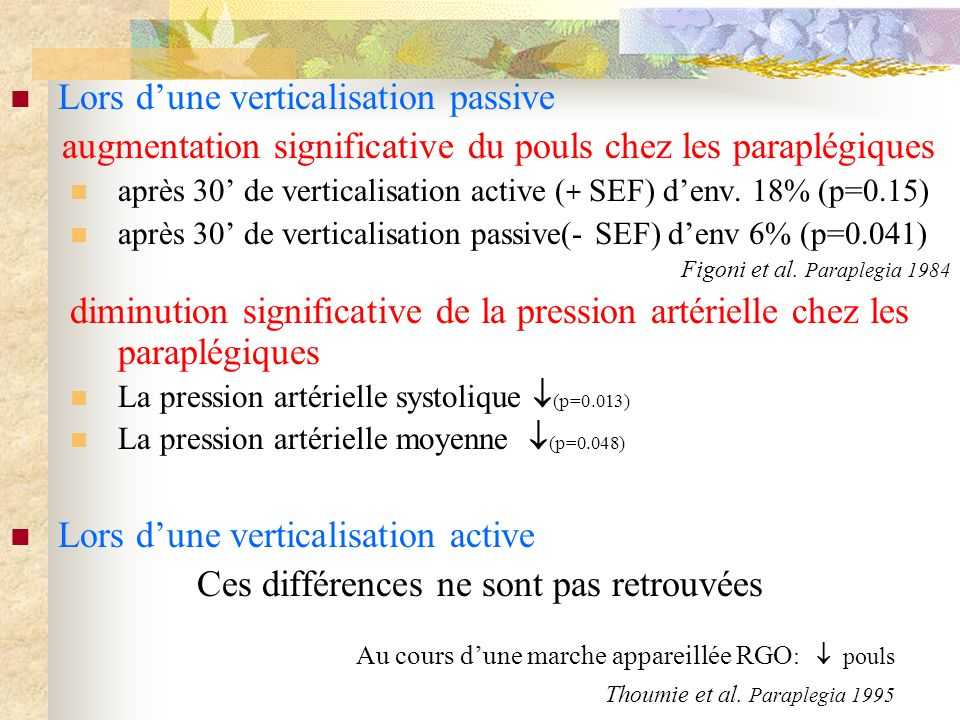 Lors dune verticalisation passive augmentation significative du pouls chez les paraplégiques après 30 de verticalisation active ( + SEF) denv. 18% (p=
