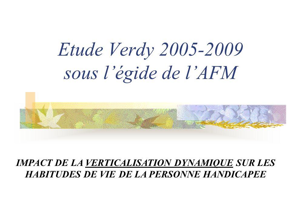 Etude Verdy 2005-2009 sous légide de lAFM IMPACT DE LA VERTICALISATION DYNAMIQUE SUR LES HABITUDES DE VIE DE LA PERSONNE HANDICAPEE