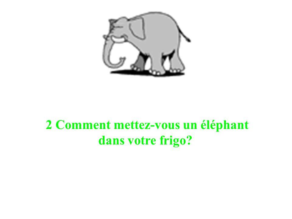 2 Comment mettez-vous un éléphant dans votre frigo?