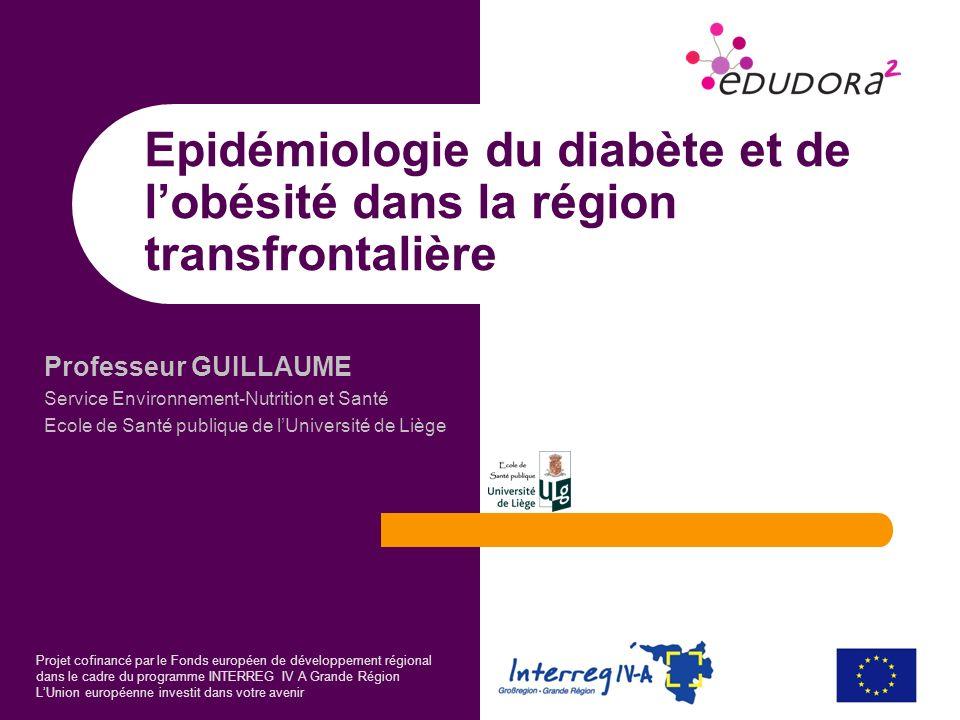 Professeur GUILLAUME Service Environnement-Nutrition et Santé Ecole de Santé publique de lUniversité de Liège Projet cofinancé par le Fonds européen d