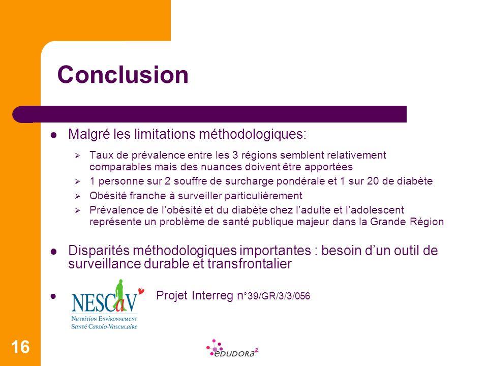16 Conclusion Malgré les limitations méthodologiques: Taux de prévalence entre les 3 régions semblent relativement comparables mais des nuances doiven