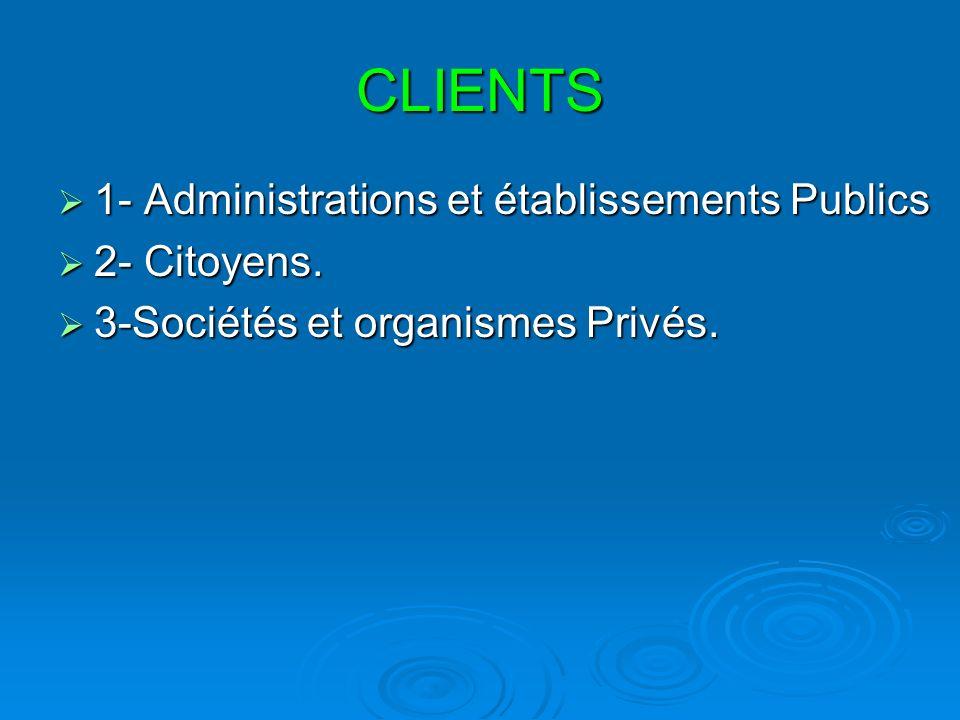 CLIENTS 1- Administrations et établissements Publics 1- Administrations et établissements Publics 2- Citoyens. 2- Citoyens. 3-Sociétés et organismes P