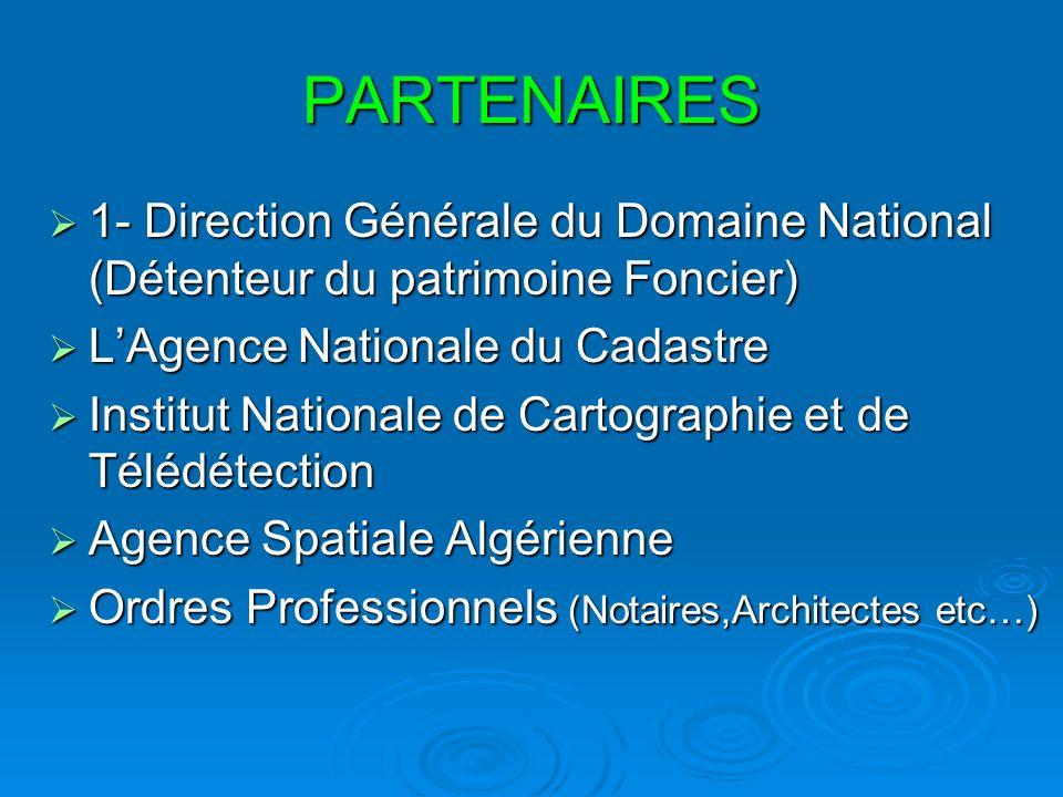 PARTENAIRES 1- Direction Générale du Domaine National (Détenteur du patrimoine Foncier) 1- Direction Générale du Domaine National (Détenteur du patrim