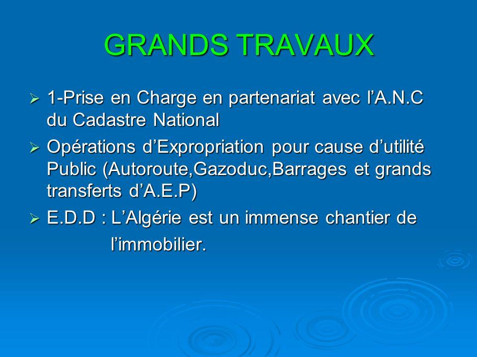 GRANDS TRAVAUX 1-Prise en Charge en partenariat avec lA.N.C du Cadastre National 1-Prise en Charge en partenariat avec lA.N.C du Cadastre National Opé