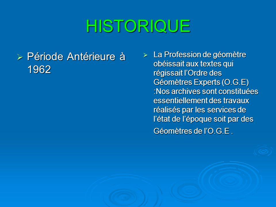 HISTORIQUE Période Antérieure à 1962 Période Antérieure à 1962 La Profession de géomètre obéissait aux textes qui régissait lOrdre des Géomètres Exper