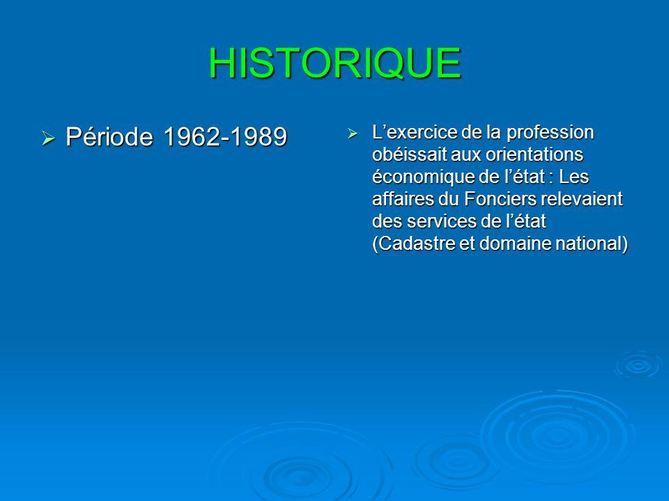 HISTORIQUE Période 1989- 1995 Période 1989- 1995 Lexercice de la profession est assurée par les services de létat et de la est née lassociationdes Géomètres Algériens (A.G.A) dans le but de regrouper les Experts Judiciaires qui assuraient lassistance au juge dans le domaine de la Topographie et du Foncier.