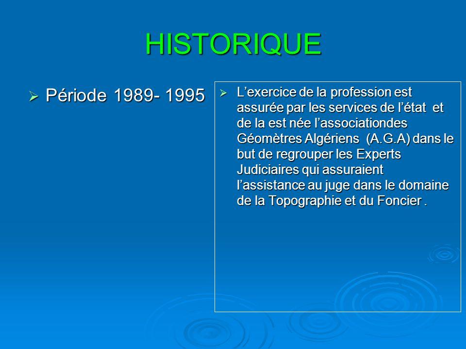 HISTORIQUE Période postérieure à1995 Période postérieure à1995 En 1995 :Létat à jugé indispensable la création dune corporation professionnel en matière du Foncier, Il a Promulgué la loi relative à lExercice de la Profession de Géomètre Expert Foncier et cest ainsi que lOrdre des Géomètres Experts Fonciers (O.G.E.F) est né et auquel létat Algérien a légué certaines de ses prérogatives en matière du Foncier.