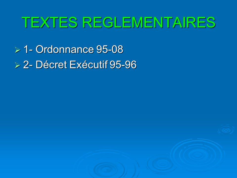 TEXTES REGLEMENTAIRES 1- Ordonnance 95-08 1- Ordonnance 95-08 2- Décret Exécutif 95-96 2- Décret Exécutif 95-96