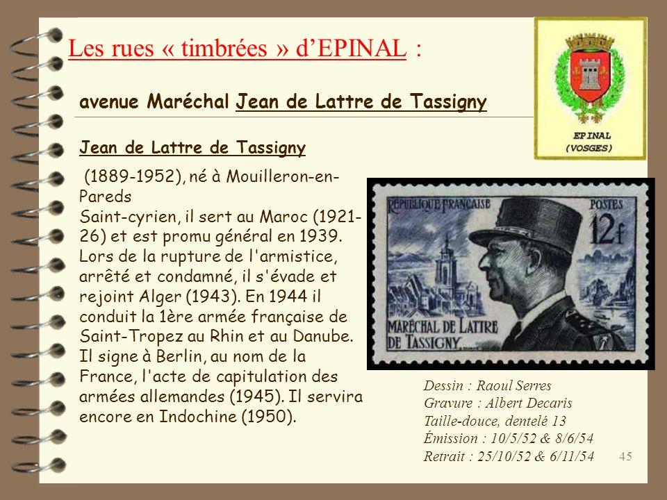 44 Dessin : Paul-Pierre Lemagy Gravure : René Cottet Taille-douce, dentelé 13 2 000 000 dexemplaires Date démission : 5/4/1948 Date de retrait : 19/9/