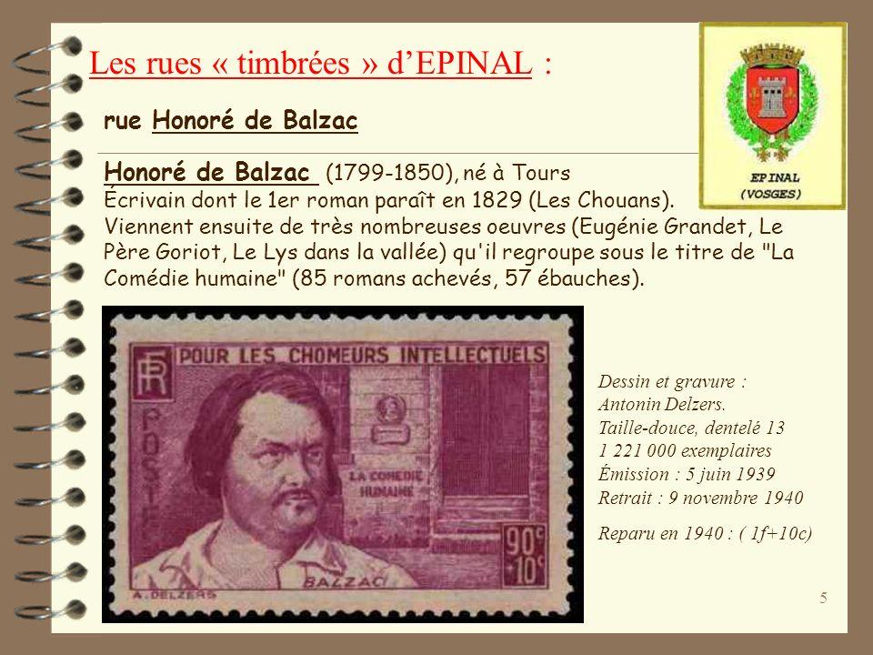 5 Honoré de Balzac (1799-1850), né à Tours Écrivain dont le 1er roman paraît en 1829 (Les Chouans).