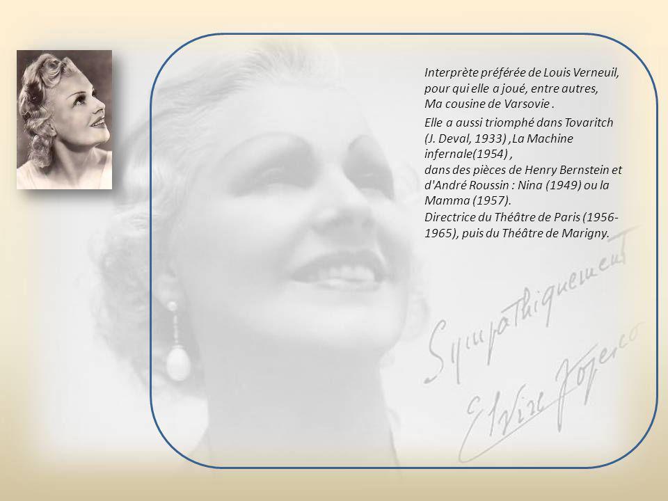 Elvire Popesco ( 1894-1993 ) Née en 1894 en Roumanie, Elvira Popescu, comtesse de Foy par son mariage, a conquis les faveurs du public parisien avec s