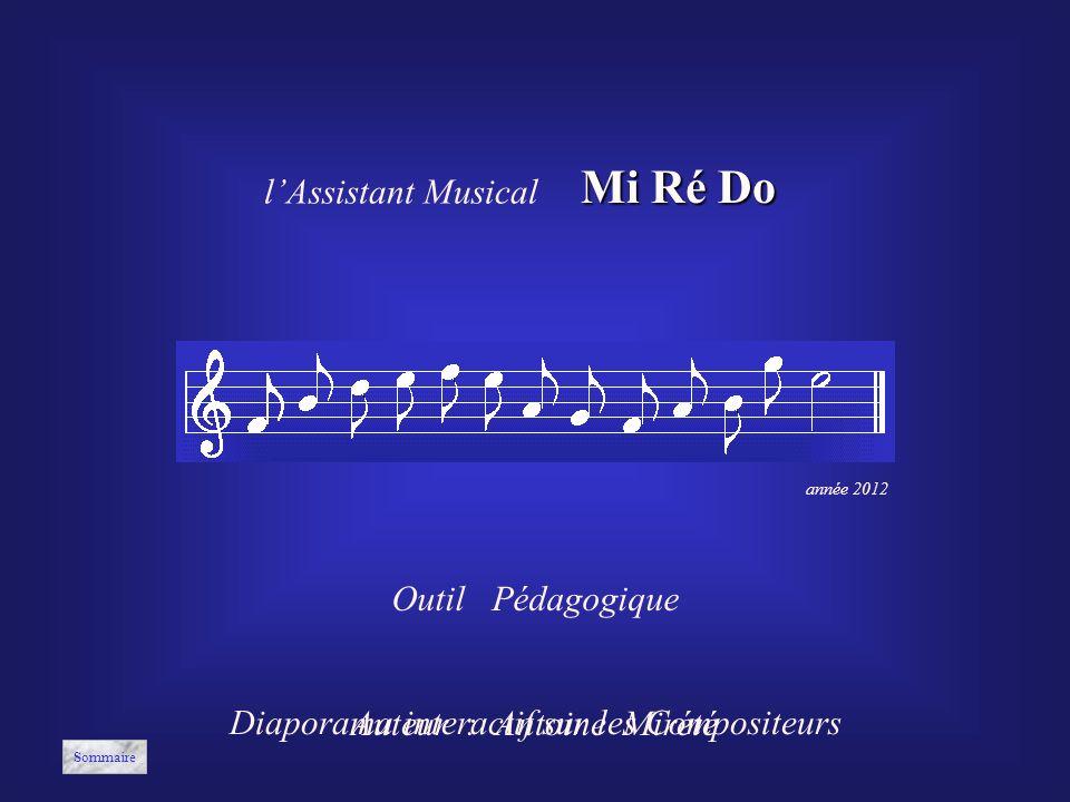 Diaporama interactif sur les Compositeurs Auteur : Antoine Mirété Outil Pédagogique année 2012 lAssistant Musical Mi Ré Do Sommaire