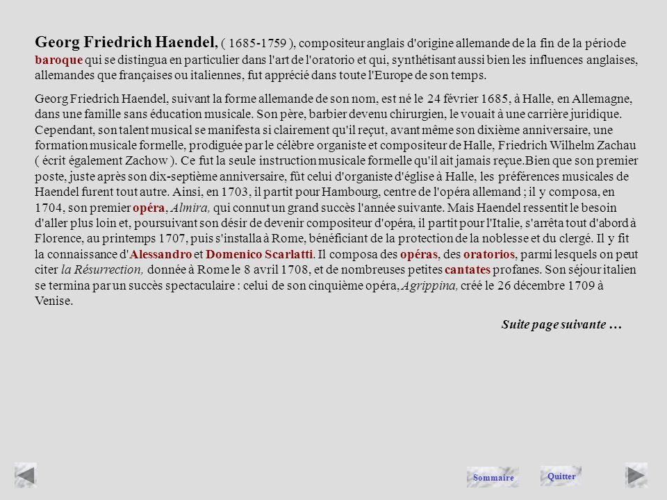 HAENDEL Quitter Sommaire
