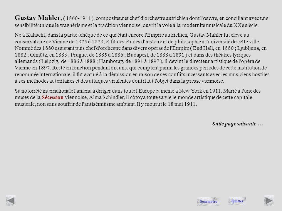 MAHLER Quitter Sommaire