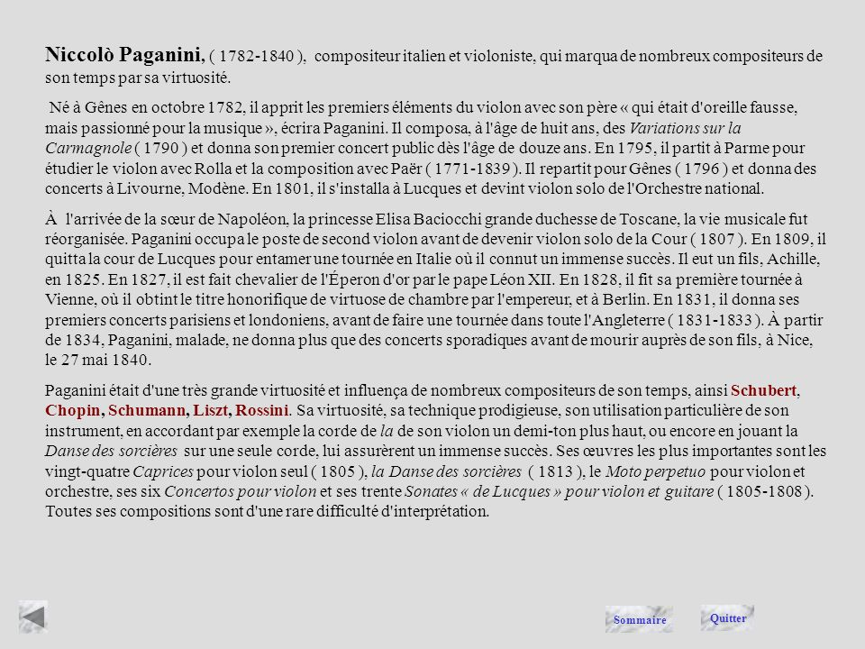 PAGANINI Quitter Sommaire