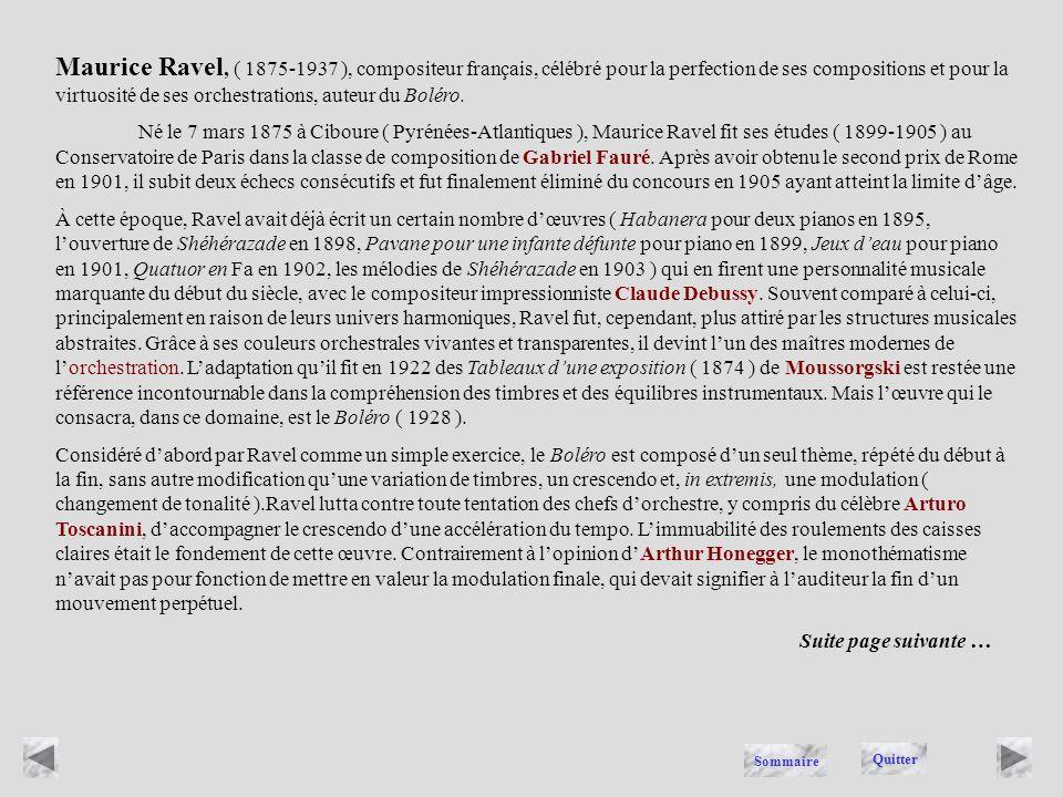 RAVEL Quitter Sommaire