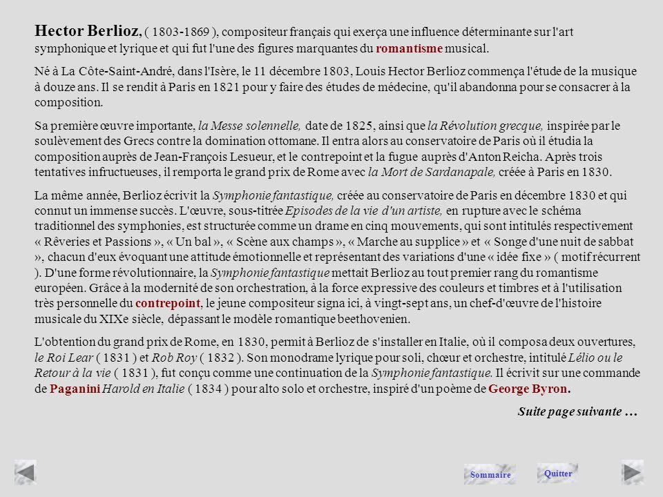 BERLIOZ Quitter Sommaire