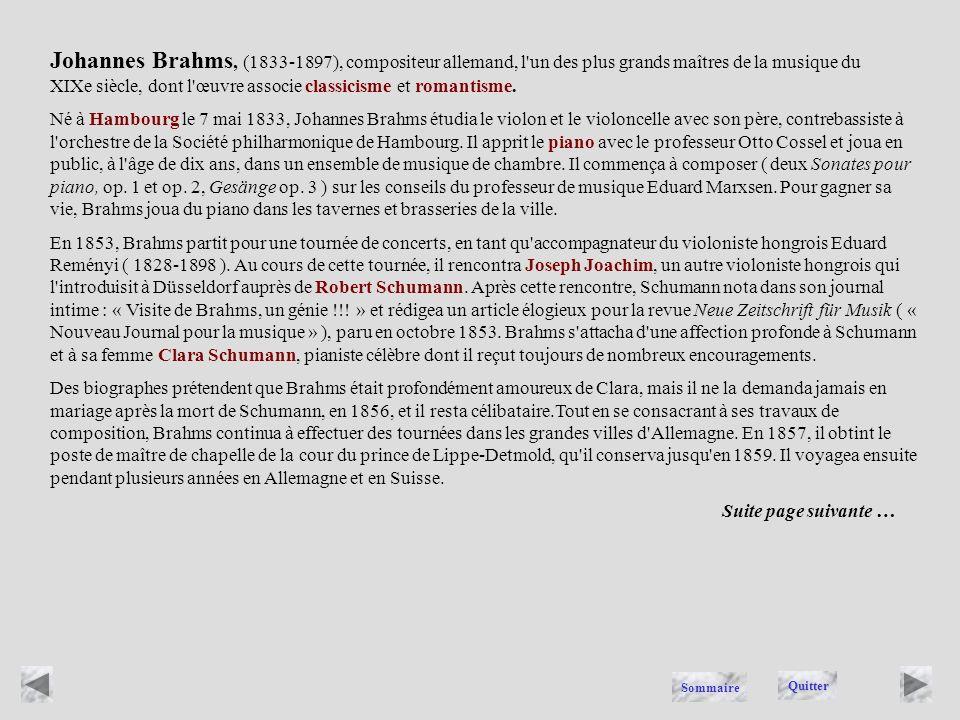 BRAHMS Quitter Sommaire