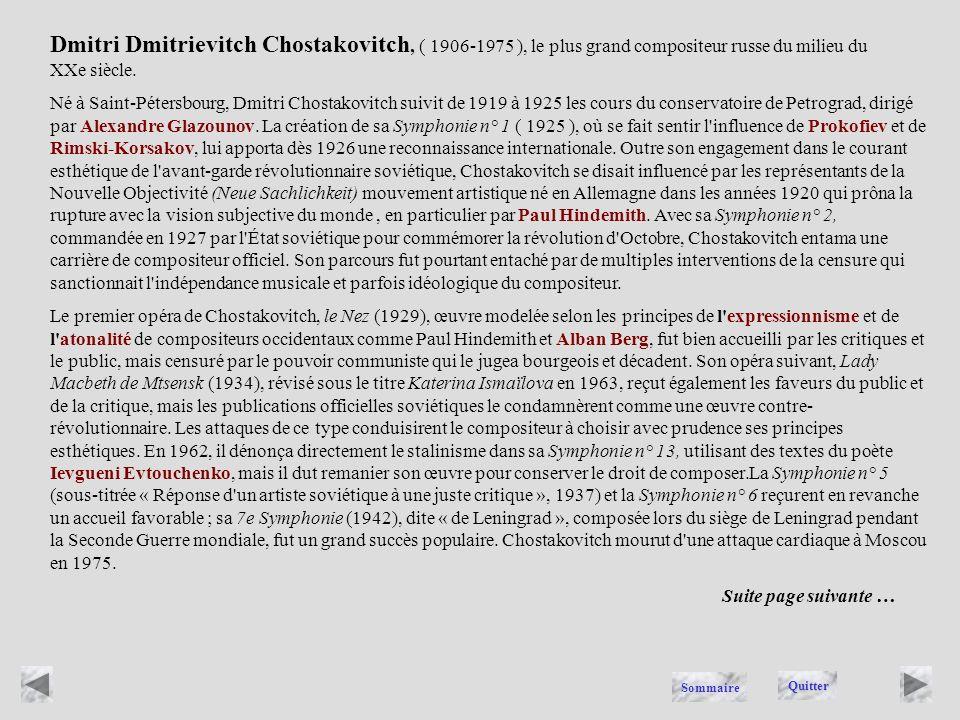 CHOSTAKOVITCH Quitter Sommaire