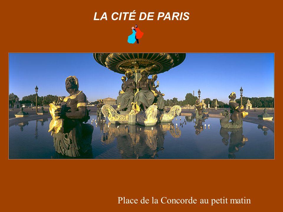 Paris depuis le Pont des Arts au lever de lune LA CITÉ DE PARIS