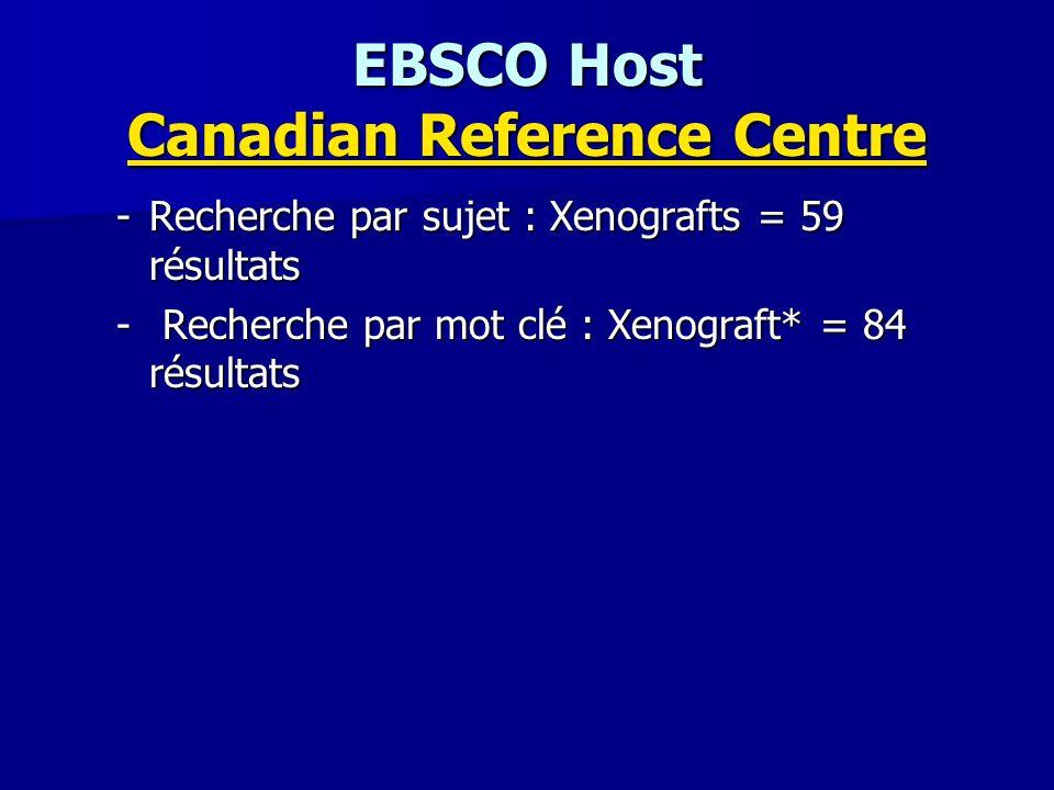 EBSCO Host Canadian Reference Centre Canadian Reference Centre Canadian Reference Centre -Recherche par sujet : Xenografts = 59 résultats - Recherche