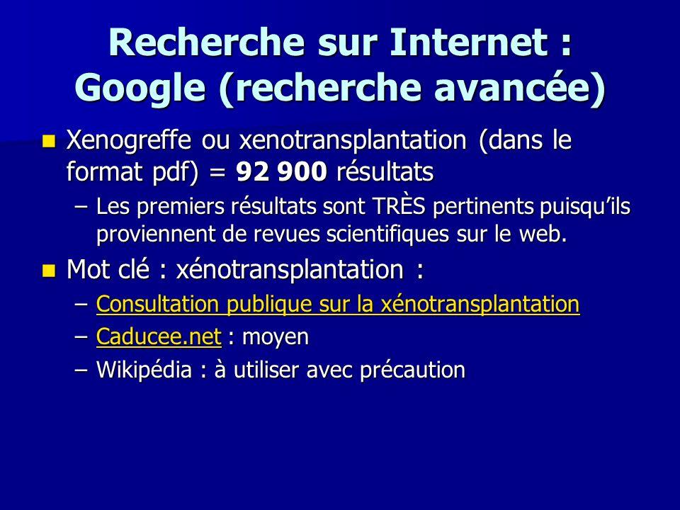 Recherche sur Internet : Google (recherche avancée) Xenogreffe ou xenotransplantation (dans le format pdf) = 92 900 résultats Xenogreffe ou xenotransp