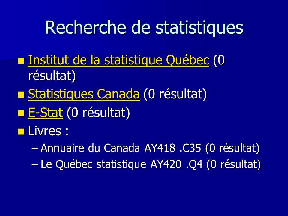 Recherche de statistiques Institut de la statistique Québec (0 résultat) Institut de la statistique Québec (0 résultat) Institut de la statistique Qué