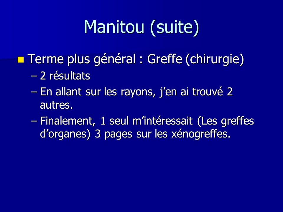 Manitou (suite) Terme plus général : Greffe (chirurgie) Terme plus général : Greffe (chirurgie) –2 résultats –En allant sur les rayons, jen ai trouvé
