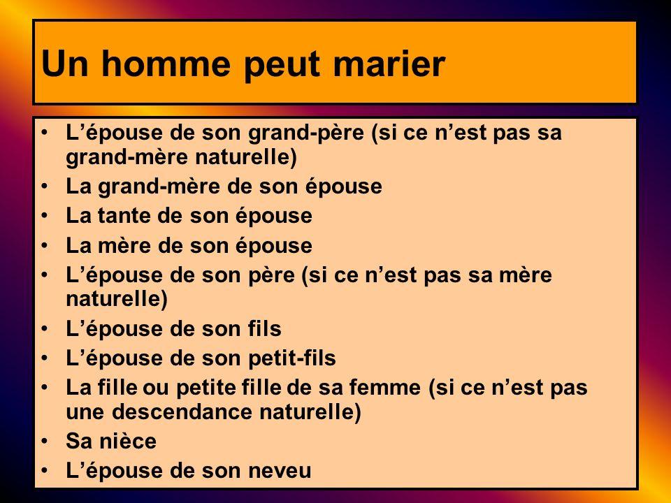 Un homme peut marier Lépouse de son grand-père (si ce nest pas sa grand-mère naturelle) La grand-mère de son épouse La tante de son épouse La mère de