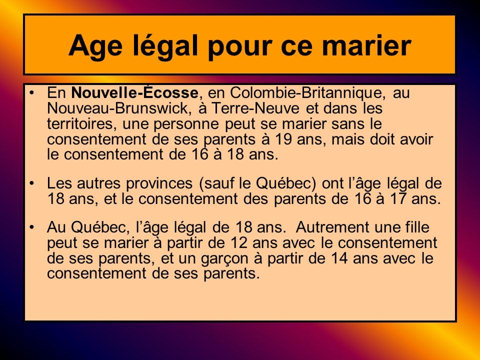 Age légal pour ce marier En Nouvelle-Écosse, en Colombie-Britannique, au Nouveau-Brunswick, à Terre-Neuve et dans les territoires, une personne peut s