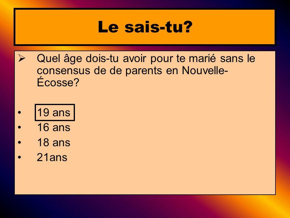 Quel âge dois-tu avoir pour te marié sans le consensus de de parents en Nouvelle- Écosse? 19 ans 16 ans 18 ans 21ans Le sais-tu?