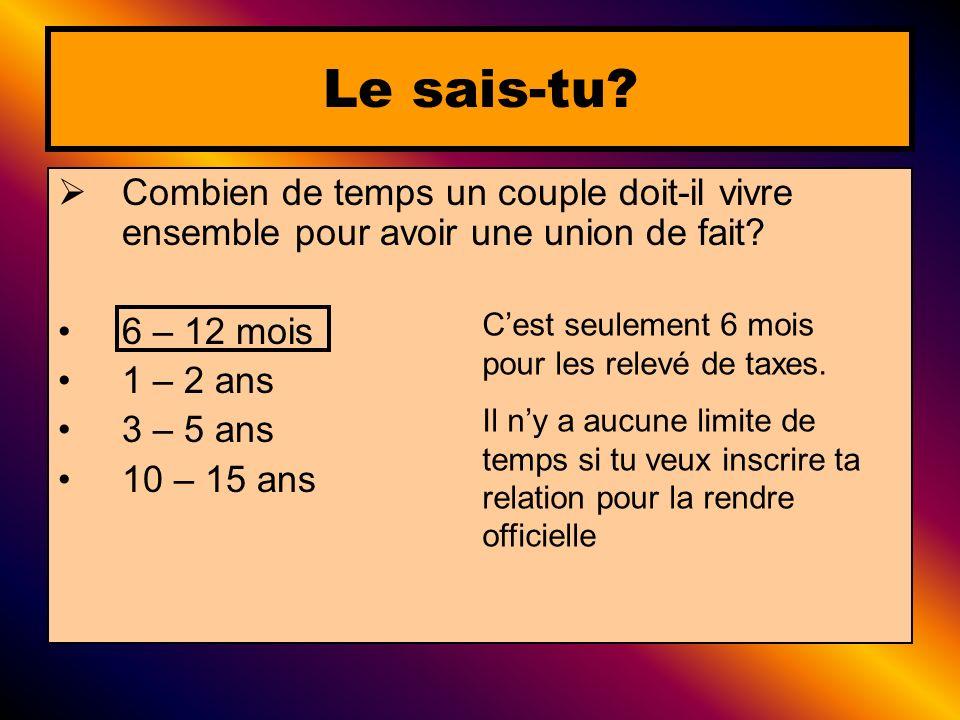 Combien de temps un couple doit-il vivre ensemble pour avoir une union de fait? 6 – 12 mois 1 – 2 ans 3 – 5 ans 10 – 15 ans Le sais-tu? Cest seulement