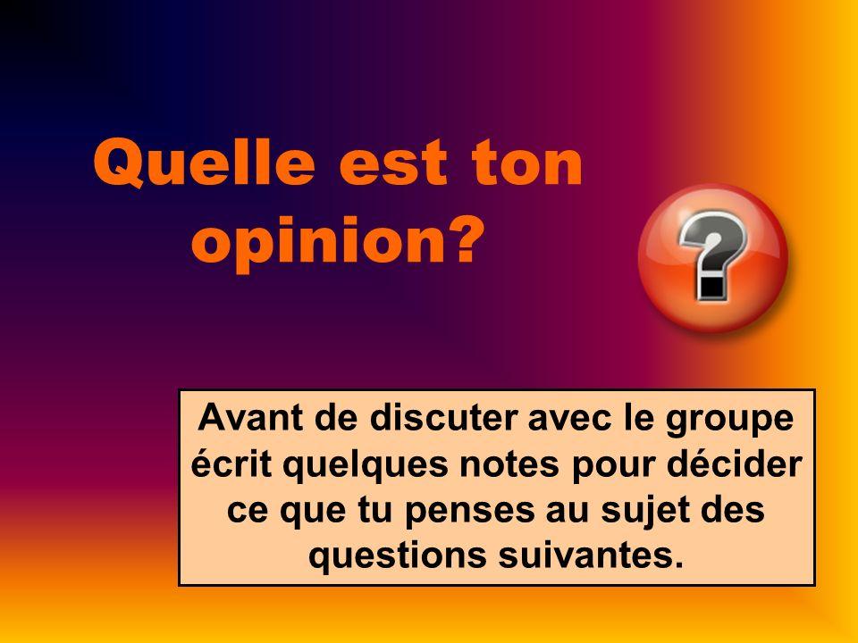 Quelle est ton opinion? Avant de discuter avec le groupe écrit quelques notes pour décider ce que tu penses au sujet des questions suivantes.