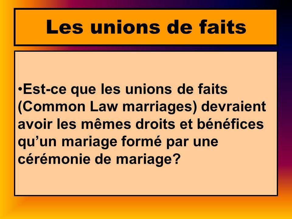 Les unions de faits Est-ce que les unions de faits (Common Law marriages) devraient avoir les mêmes droits et bénéfices quun mariage formé par une cér