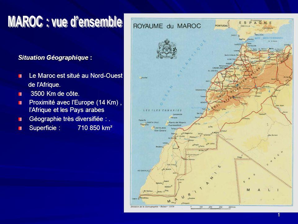 1 Situation Géographique : Le Maroc est situé au Nord-Ouest de l Afrique.