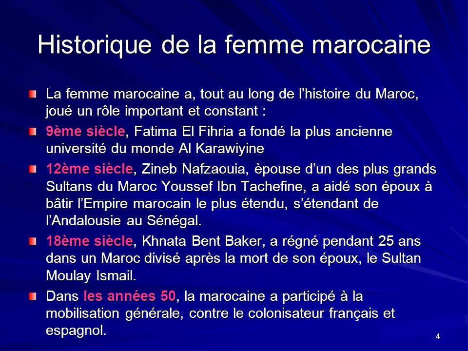 4 Historique de la femme marocaine La femme marocaine a, tout au long de lhistoire du Maroc, joué un rôle important et constant : 9ème siècle, Fatima El Fihria a fondé la plus ancienne université du monde Al Karawiyine 12ème siècle, Zineb Nafzaouia, èpouse dun des plus grands Sultans du Maroc Youssef Ibn Tachefine, a aidé son époux à bâtir lEmpire marocain le plus étendu, sétendant de lAndalousie au Sénégal.
