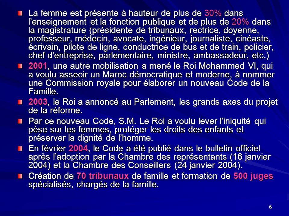6 La femme est présente à hauteur de plus de 30% dans lenseignement et la fonction publique et de plus de 20% dans la magistrature (présidente de tribunaux, rectrice, doyenne, professeur, médecin, avocate, ingénieur, journaliste, cinéaste, écrivain, pilote de ligne, conductrice de bus et de train, policier, chef dentreprise, parlementaire, ministre, ambassadeur, etc.) 2001, une autre mobilisation a mené le Roi Mohammed VI, qui a voulu asseoir un Maroc démocratique et moderne, à nommer une Commission royale pour élaborer un nouveau Code de la Famille.