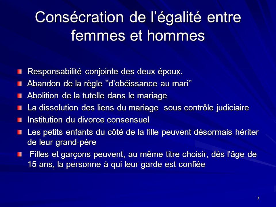 7 Consécration de légalité entre femmes et hommes Responsabilité conjointe des deux époux.