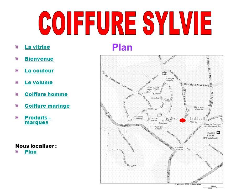 La vitrine Bienvenue La couleur Le volume Coiffure homme Coiffure mariage Produits – marques Nous localiser : Plan