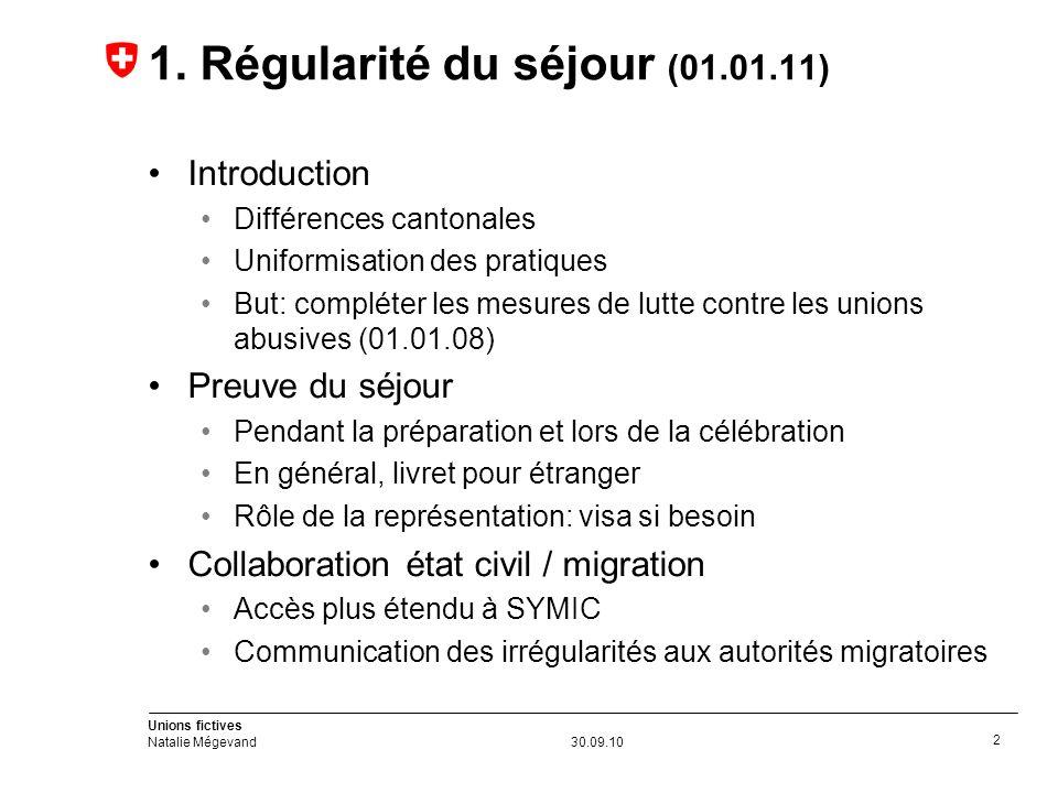 Unions fictives Natalie Mégevand30.09.10 2 1.