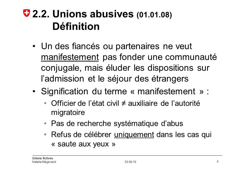 Unions fictives Natalie Mégevand30.09.10 4 2.2.