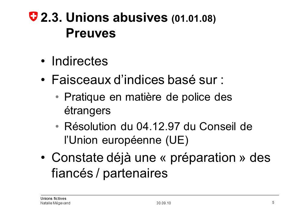 Unions fictives Natalie Mégevand30.09.10 5 2.3.