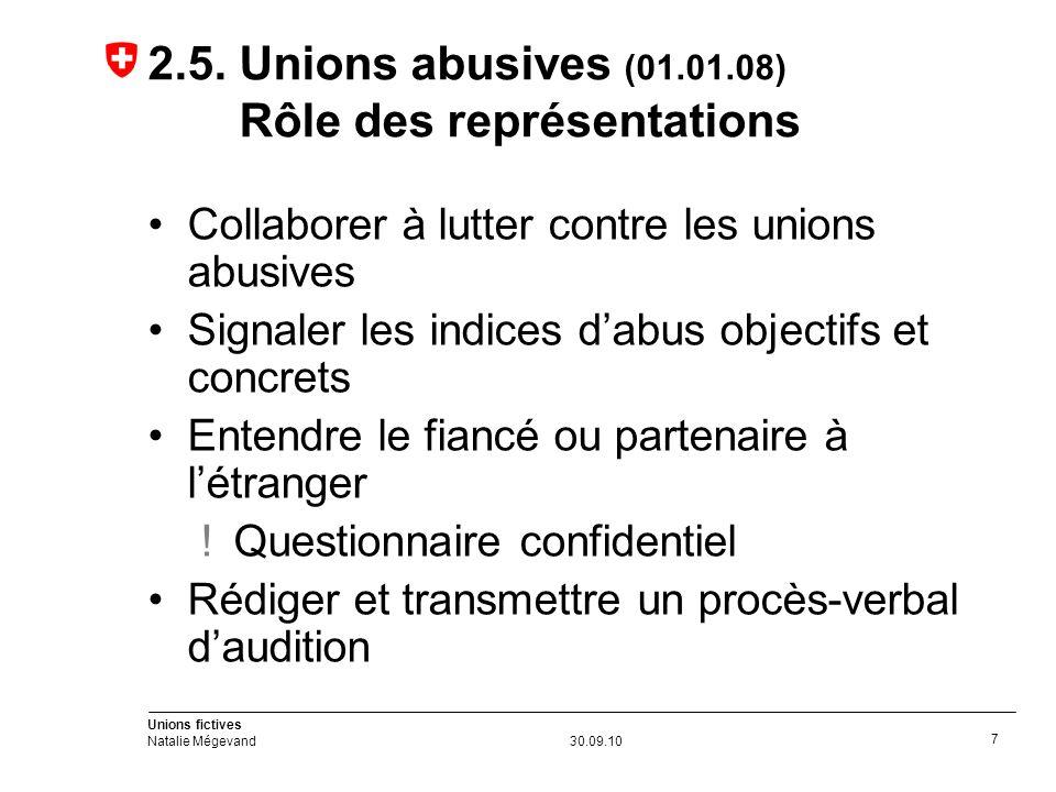 Unions fictives Natalie Mégevand30.09.10 7 2.5.