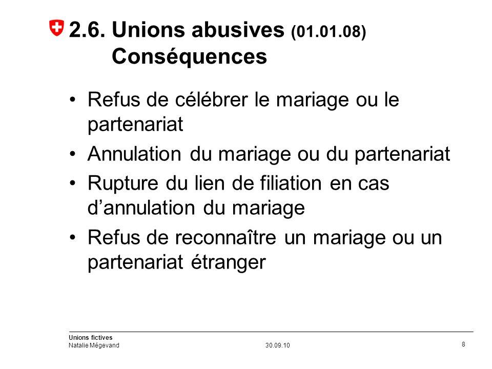 Unions fictives Natalie Mégevand30.09.10 9 2.7.