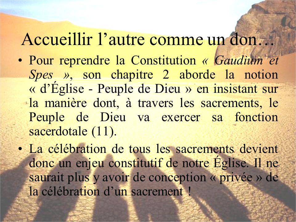 Accueillir lautre comme un don… Pour reprendre la Constitution « Gaudium et Spes », son chapitre 2 aborde la notion « dÉglise - Peuple de Dieu » en in