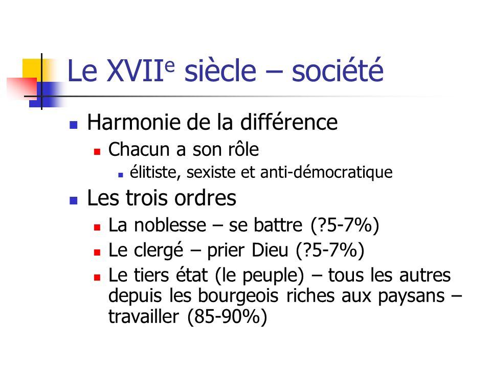 Le XVII e siècle – société Harmonie de la différence Chacun a son rôle élitiste, sexiste et anti-démocratique Les trois ordres La noblesse – se battre