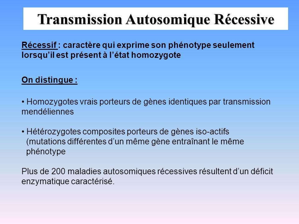 Transmission Autosomique Récessive On distingue : Homozygotes vrais porteurs de gènes identiques par transmission mendéliennes Hétérozygotes composite