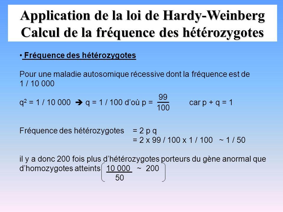 Application de la loi de Hardy-Weinberg Calcul de la fréquence des hétérozygotes Fréquence des hétérozygotes Pour une maladie autosomique récessive do